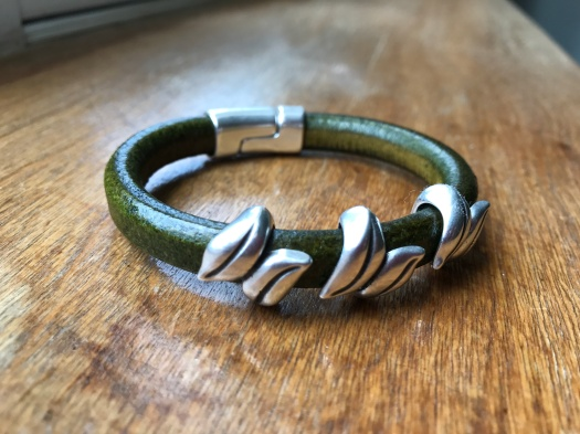 #15 Natural leather and magnetic clasp, Hypoallergenic, $36