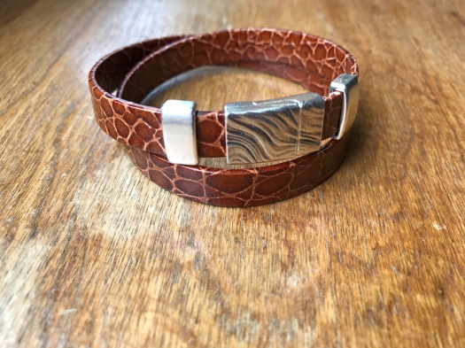 #12 Natural leather and magnetic clasp, Hypoallergenic, $37
