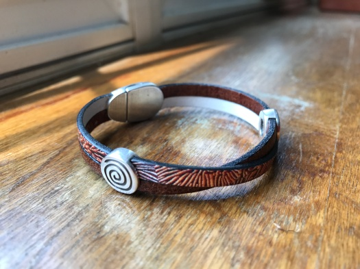 #9 Natural leather and magnetic clasp, Hypoallergenic, $32