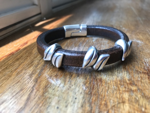 #33 Natural leather and magnetic clasp, Hypoallergenic, $ 42