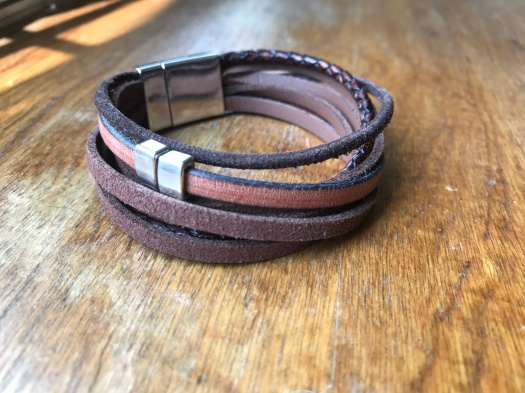#35 Natural leather and magnetic clasp, $36